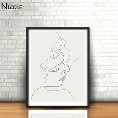BESO de Picasso Arte Minimalista Pintura Cartel de la Lona Negro Blanco Lineal Cuadro de Impresión Moderna Del Arte Abstracto Home Room Decor