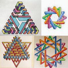 #impossible #isometric #geometry #symmetry #penrosetriangle #escher #oscarreutersvard #mathart #regolo54 #triangle #star