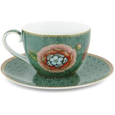 Pip Studio Spring To Life Cup & Saucer - Green (995 RUB) ❤ liked on Polyvore featuring home, kitchen & dining, drinkware, green, pip studio tableware, pip studio, porcelain cups and saucers and green tableware