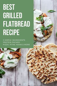 Grilled Yogurt Flatbread | Pesto Margherita Pizza - Grilled yogurt flatbread (similar to naan bread) are perfect for personal pizzas, serving with dips or hummus, topped with Greek yogurt and fresh fruit or to use as pitas for chicken salad sandwiches. Made with 3 simple and wholesome ingredients. [ad] @FAGEUSA #FAGE #LiveLoveEat #Greekyogurt #healthyrecipes #naan #pizza #pizzadough