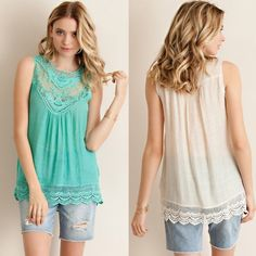 🚨1 HR SALE🚨KYLIE sleeveless crochet top - MINT Solid sleeveless top featuring lace yoke and crochet hem trimming. Single button key hole back detail. Slightly sheer. Unlined. Woven. Light wieght. 100%RAYON Bellanblue Tops Blouses