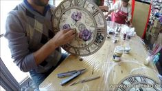 Tutorial - Decoupage & One Stroke technique - Clock Decorating