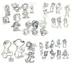 Chris Sanders bears tigers and kids sketchs and concepts