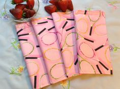 Children's Cloth Napkins  Tennis Rackets on Pink  by greenlioness