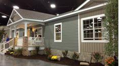 Mobile home remodel diy front porches 17 Ideas Mobile Home Exteriors, Mobile Home Renovations, Remodeling Mobile Homes, Home Remodeling, Bathroom Remodeling, House Exteriors, Manufactured Home Porch, Double Wide Manufactured Homes, Manufactured Housing