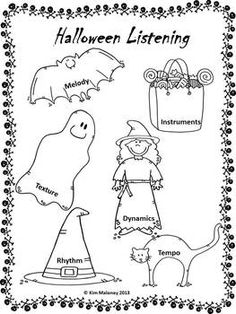 FREE on TPT Music Halloween Listening Worksheets