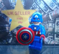 CAPTAIN AMERICA High Quality Custom Minifigure Height approx 4.5cm Compatible with Lego Age 3 years due to small parts Free P&P on this item