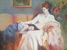 Madre e hija. Copia de un cuadro de Pino.