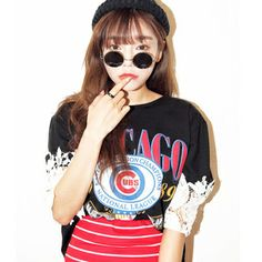 New 2014 spring & summer Korean Style lace crochet stitching T-shirts printed letters fashion joker coat girl's casual T-shirt $16.99