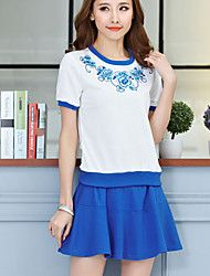 Women's Casual Cute Work Micro Elastic Short Sleeve Regular T-shirt (Cotton)