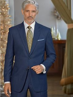Indigo Textured Solid Pure Wool Suit from Paul Fredrick Mature Mens Fashion, Suit Fashion, Mens Attire, Mens Suits, Suit Men, Sharp Dressed Man, Well Dressed Men, Mens Style Looks, Men's Style