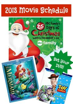Here is the Full list of Movies that will be included in the 2013 ABC Family 25 Days of Christmas this year. The Little Mermaid and All 3 Toy Story Movies will be showing. You can use your DVR to record these and watch them all year long. 25 Days Of Christmas, Merry Little Christmas, Christmas Movies, Winter Christmas, Winter Holidays, Xmas, Christmas Activities, Christmas Traditions, Christmas Projects