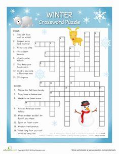 Winter The Holiday Season Fifth Grade Puzzles & Sudoku Vocabulary Worksheets: Winter Crossword