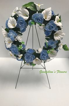 Silk Faux Flower Wreath With Blue Roses and White Calla Lilies Calla Lilies, Blue Roses, Faux Flowers, Floral Arrangements, Floral Wreath, Lily, Wreaths, Beautiful, Home Decor