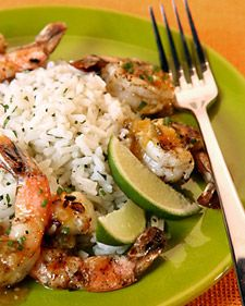 Tequila orange grilled shrimp with cilantro lime rice - my summer staple - thanks Martha!!!