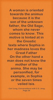 A woman is oriented towards the animus because it is the son of the unknown father, the Old Sage, whom she never comes to know. This motive ...
