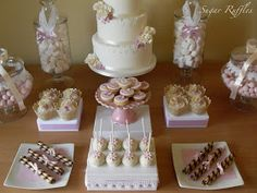 Sugar Ruffles, Elegant Wedding Cakes. Barrow in Furness and the Lake District, Cumbria: Pink and White Dessert Table