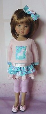 PIXIES HAND MADE:4 ITEMS: TOP/SKIRT/LEGGINGS/BOW: fits dolls like LITTLE DARLING