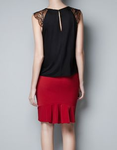 with lace please! FAUX LEATHER TOP WITH LACE SHOULDER - T-shirts - Woman - ZARA United States