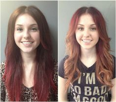 sweet and easy wavy brown to red ombre hairstyles