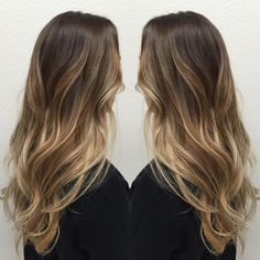 Long Layered Medium-Brown Hair with Strawberry-Blonde Balayage