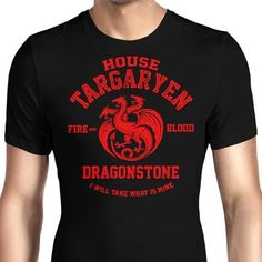 The house of Targaryen men's T-Shirt with the three headed dragon and the house words from Game of Thrones. $21.99