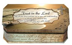 Proverbs 3:5-6 Trust in the Lord Footprints in the Sand Design Belle Papier Jewelry Music Musical Box Plays Song How Great Thou Art *** For more information, visit image link.