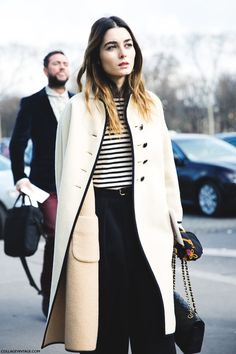 Trench coat, striped shirt, ombre hair
