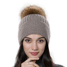 5fbdf43785960 URSFUR Women winter fur Pompom hat beanies knitted wool cotton Caps outdoor