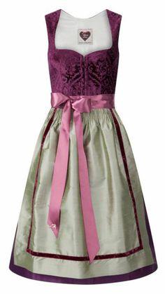 Dirndl Elisabeth violett mit grüner Seidenschürze