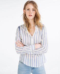 画像 2 の 刺繍入りストライプシャツ ザラから