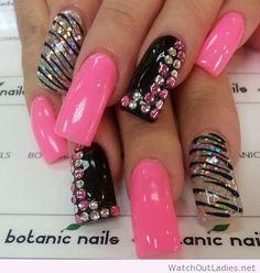 Botanic nails long, black, pink, silver