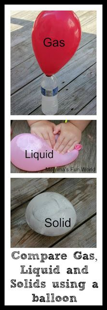 Momma's Fun World: Balloon science comparing gas, liquid and solids for a simple physics lesson!