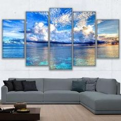 5 Panels Crystal Clear Blue Sky Painting Printed Canvas Wall Art Home Decorative Canvas Art Prints, Canvas Wall Art, Canvas 5, Canvas Poster, Large Canvas, Poster Prints, Rooms Home Decor, Diy Home Decor, Bedroom Decor