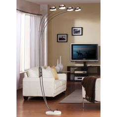 ETHAN HOME Modern Chrome Metal Arch Lamp | Overstock.com