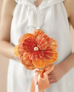 This bouquet is made out of sea shells. It's gorgeous and perfect for an ocean-side wedding! The how-to make this bouquet is on the page. Beach Wedding Bouquets, Diy Wedding, Wedding Flowers, Wedding Ideas, Beach Weddings, Bridal Bouquets, Orange Weddings, Summer Weddings, Bouquet Wedding