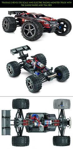 Traxxas E-Revo: 1/10 Scale 4WD Electric Racing Monster Truck with TQi 2.4GHz Radio and TSM, Red #fpv #traxxas #revo #drone #products #parts #kit #tech #racing #technology #e #plans #shopping #gadgets #camera