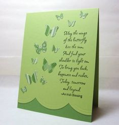 Irish Butterflies by KristaTracy - Cards and Paper Crafts at Splitcoaststampers Butterfly Kisses, Butterfly Cards, Butterflies, St Patricks Day Cards, Irish Blessing, St Pats, Advice Quotes, Saint Patrick, Luck Of The Irish