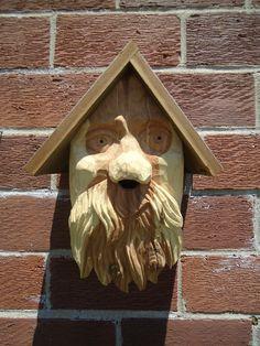 Unique hand carved birdhouse -Wood carving - Cedar wood birdhouse - Reclaimed…