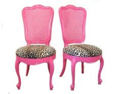 Hot pink French Provincial chairs courtesy of Fabulousmess via french provincial furniture blog