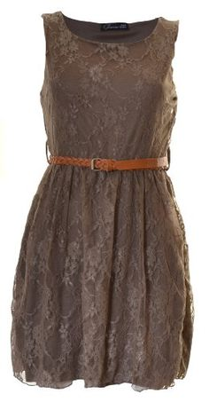 Brown Lace Maid of Honor Dress--Needs an Orange/Cream Colored Sweater :)