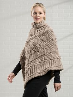 """SIZES: One size fits most adult women FINISHED MEASUREMENTS Length: 27"""" to point MATERIALS Premier® Yarns Serenity® Chunky (100% acrylic; 100g/109 yds) • #DN700-45 Sand – 5 balls Needles: US Size 11 (8mm) knitting needles or size needed to obtain gauge US Size 10½ (6.5mm) circular needle 16"""" long Notions: Cable needle, stitch marker, tapestry needle GAUGE 11 sts x 15 rows = 4"""" in Stockinette Stitch using larger needles Save time, check your gauge."""