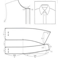No photo description available. Shirt Collar Pattern, Shirt Collar Styles, Jacket Pattern, Sewing Pants, Sewing Clothes, Dress Sewing Patterns, Clothing Patterns, Sewing Collars, Pattern Drafting