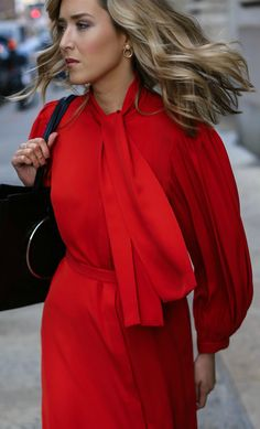 business formal bright red tie neck silk tie waist midi dress with pleated blouson sleeves perfect for holiday parties