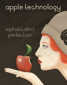 Art Deco Apple Poster. $12,50, via Etsy.