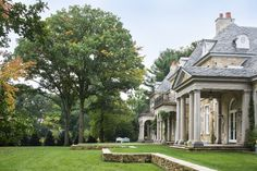 American-French Country House Greenwich, CT | Wadia Associates Luxury Home Builders Greenwich House, Stone Mansion, Colonial House Plans, Classic Architecture, French Country House, Classic House, Farm Life, Home Builders, Marketing Digital