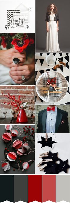 Black White and Red - A Modern Xmas Colour Palette | onefabday.com// Boutique Bridal Party : Winter Wedding Inspiration #partyonbrides  // https://www.facebook.com/BoutiqueBridalParty
