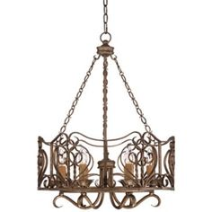 "Sierravilla Scroll 22 1/2"" Wide Bronze Chandelier"