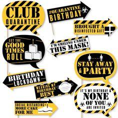 Funny Happy Quarantine Birthday Social Distancing Birthday | Etsy 21st Birthday Themes, Birthday Photo Booths, 90th Birthday Parties, Diy Birthday Decorations, Birthday Photos, Birthday Wishes, Birthday Ideas, Funny Photo Booth, Diy Photo Booth Props