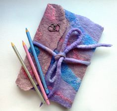 Note Book or Journal Cover. Handcrafted Felt Diary by Sesenarts, $34.00
